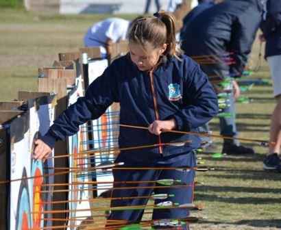 CHECKING HER MARKSMANSHIP: Samantha Knight retrieving her arrows as her score is tallied Picture: JON HOUZET