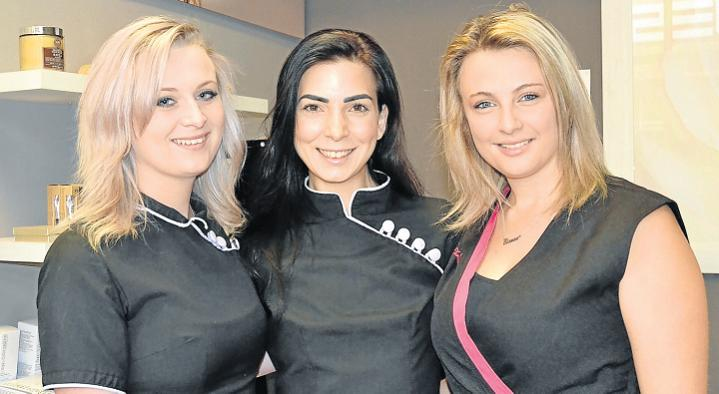 PRETTY GOOD SHOW: Charisma A is opening a new beauty academy at its new home at the Rosehill Mall. From left, therapist Belinda Nel, Charisma A owner Adelina Snyman and trainee Bianca van Wyk. Picture: ROB KNOWLES