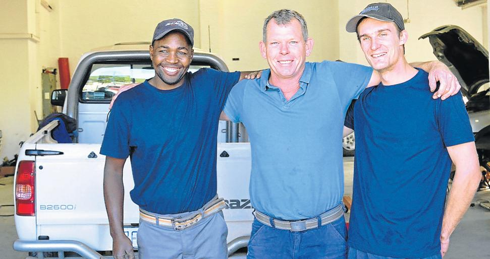 MOTOR SPECIALIST: The Gem Auto team from left, Thembalani Yeko, Daron Abercrombie and Jarred Clur, are ready to cater for any repair and maintenance issues as well as non-warranty and maintenance plan vehicles, especially under the Mitsubishi and Mercedes brands. Picture: LOUISE CARTER