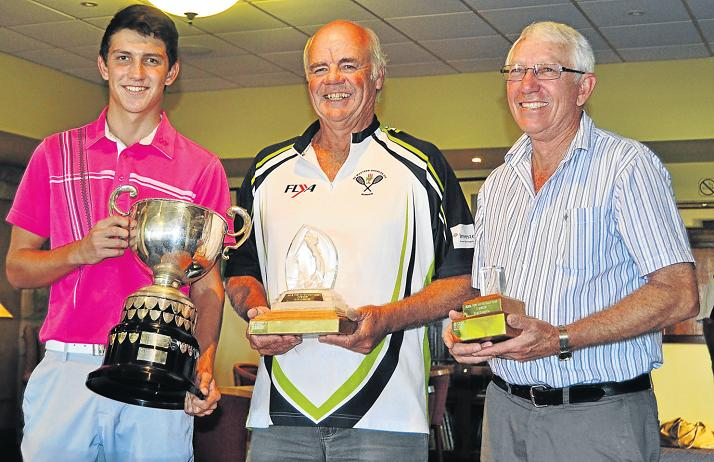 RISING STAR: PAHS pupil Wian van Aswegen, left, won the Royal Port Alfred Golf Club Championship last weekend after winning both rounds of golf over a two-day competition and setting a new record for the club. In the centre is the winner of the B-section Don Broedelet and, right, winner of the C-section Dennis White. Picture: LOUISE CARTER