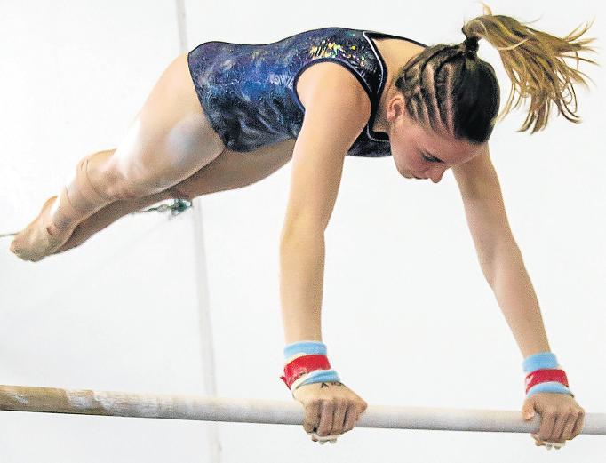 ON BAR: Kayla Stiekema competes at the SA Artistic Gymnastics High Performance Championships in KwaZulu-Natal