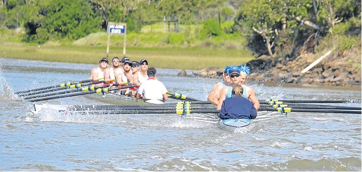TOO CLOSE FOR COMFORT: The rowing teams from the University of Pretoria (Tuks), foreground, and University of Cape Town, collided at the dogleg on the Kowie River during the Men's B finals of the Universities Boat Race last year.