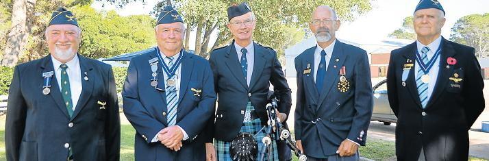 MEN OF HONOUR: Members of the SA Legion, Moths and South African Air Force Association (Saafa) attended a memorial service at 43 Air School on Sunday remembering those who had fallen. From left, John Rogers (SA Legion), Hugh Holmes (Saafa), Chris Terry who played the bagpipes, Mark Schroder (Moths) and Wally Vandermeulen (Saafa). Picture: LOUISE CARTER