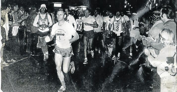 COURAGEOUS PIONEERS: Runners participating in the very first Washie 100-Miler in 1977