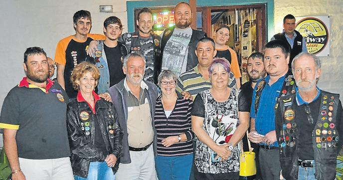 REVVING UP CARE: The members of the Midway Motorcycle Club handed over a cheque for R2000 to the Squires family last Thursday evening to assist in their son Blake Squires's medical expenses. Picture: ROB KNOWLES