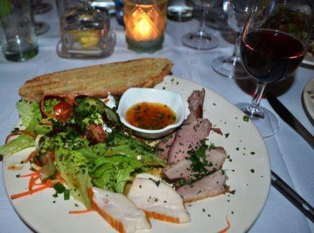 BRINGING OUT THE FLAVOUR: The home-smoked meats starter was paired with Vrede en Lust Cote de Savoy Picture: JON HOUZET