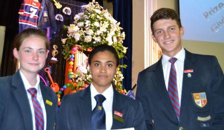 WELL DONE: Top academic achievers in Grade 11, from left, 3rd Kayla Klingenberg, 1st Inga Mpepanduku and 2nd Wian van Aswegen at the Port Alfred High School seniors' prize giving last Tuesday Picture: LOUISE KNOWLES