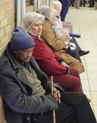 EVERY VOTE COUNTS: Some elderly residents queue at the Station Hill Community Hall to cast their vote for the municipal elections yesterday