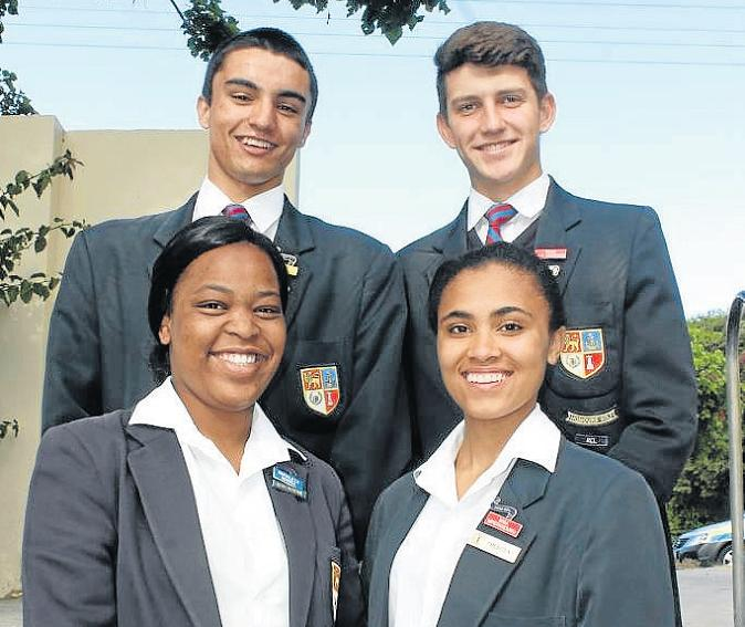 PERFECT PREFECTS: PAHS prefects for the upcoming academc year, from left, back row, deputy head boy Adam Nolte and head boy Wian van Aswegen, and front row, deputy head girl Simyaleza Ndinisa with head girl Inga Mpepanduku