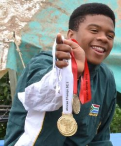 TO THE VICTOR, THE SPOILS: Onke Mangele is the first ever gymnast from Nemato Change a Life to become Junior African Champion, winning gold on the double mini trampoline in Namibia at the continental championships. This result puts him in the picture for the 2020 Olympics and strengthened the organisation's dream to develop a gymnastics centre for tumbling and trampoline gymnastics in Nemato