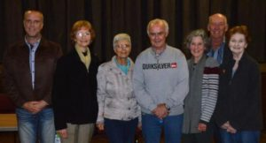 RATEPAYER REPRESENTATIVES: The committee of the Port Alfred Residents and Ratepayers Association was re-elected with one new addition at their AGM at the Port Alfred Civic Centre last week. From left are Theo van der Walt, Nola Johannson, Ruth Cockbain, Dawie van Wyk, Debi Quenet Tim Cockbain and Sandy Pool Picture: JON HOUZET