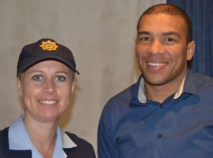 ADDRESSING CRIME CONCERNS: Sergeant Cindy Pienaar, left, and Vincent Plaatjies, who was promoted to sergeant earlier that day, spoke at the open meeting of the Community Policing Forum meeting at the Port Alfred Ski Boat Club last Thursday Picture: LOUISE KNOWLES