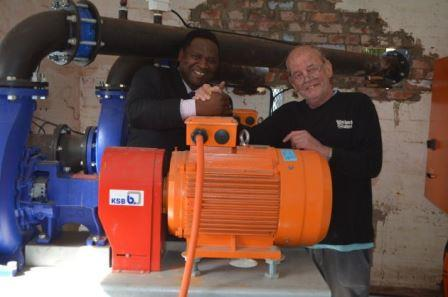 NEW ASSETS: The formal paperwork still has to be signed, but Ndlambe mayor Phindile Faxi gratefully accepted two new pumps last week from Medolino Caravan Park owner Derek Victor which will alleviate future flooding in the Medolino valley Picture: JON HOUZET
