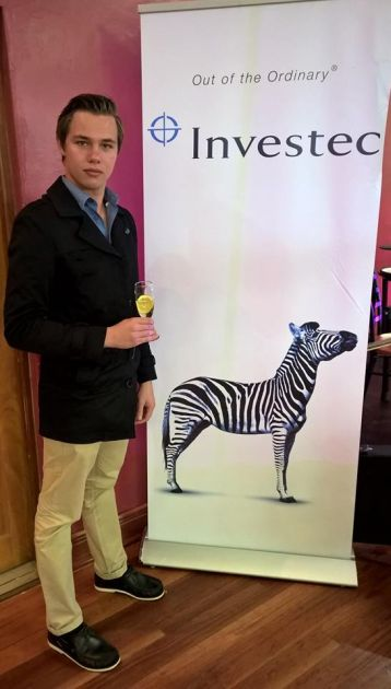 BRIGHT PROSPECTS: Adriaan Slabbert at the Investec Rhodes Top 100 Awards last year, where he received an award for academic excellence as one of the top four students in the commerce faculty