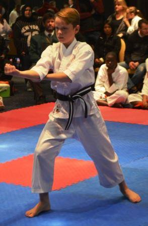 DISCIPLINE AND CONTROL: Jaco van de Merwe from Grahamstown held his composure during his kata grading last week Saturday at the Secko Karate Championships at Fish River Sun Picture: LOUISE CARTER