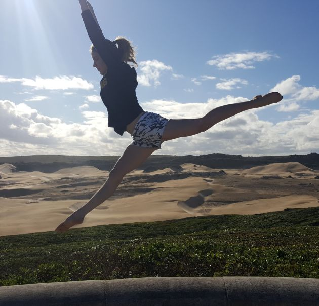ON TOP OF THE WORLD: Port Alfred gymnast Kayla Stiekema has been selected to represent South Africa for Region 5 in Zimbabwe