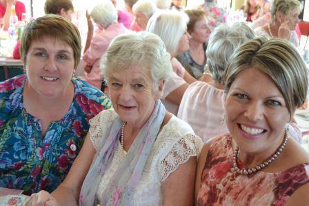 PINK SUPPORTERS: From left, Hsopice Grahamstown bookkeeper Janine Peinke, Zelda Elliott and Danel Pruissen, who spoke about 'a mother's experience of cancer' at the Hospice National Breast Cancer Awareness event at the Port Alfred River and Ski-Boat Club last Wednesday