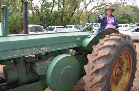 MECHANICAL BEAST: Bathurst Agricultural Museum chairman Alan Pike led the parade of tractors at the Bathurst Country Affair Picture: JON HOUZET