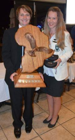 SHARED AWARD: Young anglers Ross Bartlett and Melissa du Randt shared the Tienie Lindeque Shield for sportsman of the year at the Port Alfred Ski-boat Club's Rock and Surf section annual prize giving last Friday night Picture: JON HOUZET
