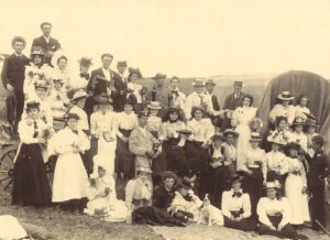 QUITE AN OUTING: A picnic group and wagon visiting the Sunshine Coast in the 1800s